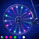 Color 2 Tire Pack LED Bike Wheel Lights Include Battery Ultra Bright Waterproof Bicycle Spoke Lights Cycling Decoration Safety Warning Tire Strip Light for Kids outdoor toys Adults Girls Night Riding