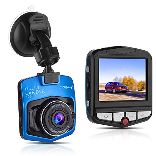 "Dash Cam,Ssontong Mini Car Dashboard Camera, Full HD 1080P 2.31"" Screen 140 Degree Wide Angle Lens Vehicle On-Dash Video Recorder with Night Vision, G-Sensor, Parking Monitoring, Loop Recording(Blue)"