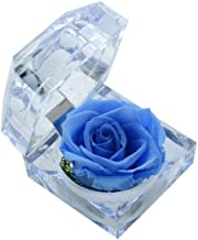 DeFancy Handmade Preserved Rose with Acrylic Crystal Ring Box for Proposal Engagement (Sky Blue)