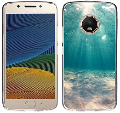Case for Moto G5 Plus - TPU Flexible Protective Cover Compatible for Motorola 5th Generation for Moto G5 Plus Amazing Ocean Veiw Blue Fashionable Design (Silicone Bumper Skin)