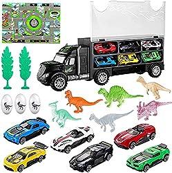 6. iBaseToy Dinosaur Transport Car Carrier Truck Toy Playset (19pcs)