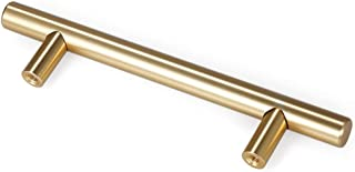 LEEDIS Brushed Brass Cabinet Round Bar Handle Cabinet Hardware Handle Pull Cabinet Drawer T-Bar Cabinet & Furniture Pull C...
