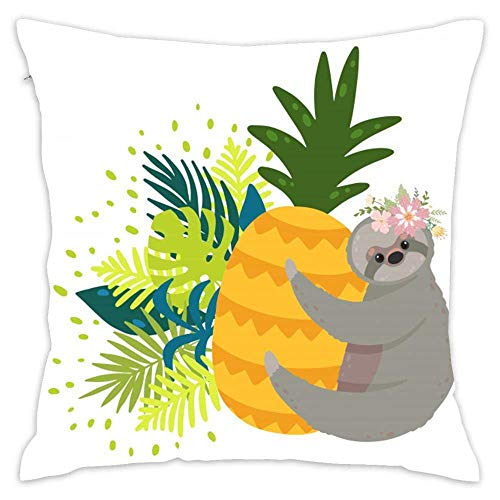 Pillowcase,Throw Pillowcase Decor Throw Pillow Cover for Women/Kids/Men, Cute Sloths Yellow Pineapple Surrounded by Tropical Leaves Cotton Pillow Case Cushion