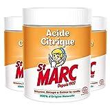 St Marc - Limpiador multiusos de ácido cítrico 100 % de origen natural, 500 g – Lote de 3