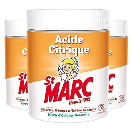 St Marc Acide Citrique Nettoyant Multi-Usage 100% dOrigine Naturelle 500 g - Lot de 3