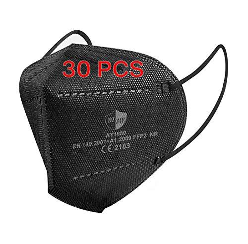 SOYES FFP2 Maske CE Zertifiziert Schwarz 5-lagige 30 Stück FFP2 Maske Schwarz KN95 Maske Atemschutzmaske Mund und Nasenschutz