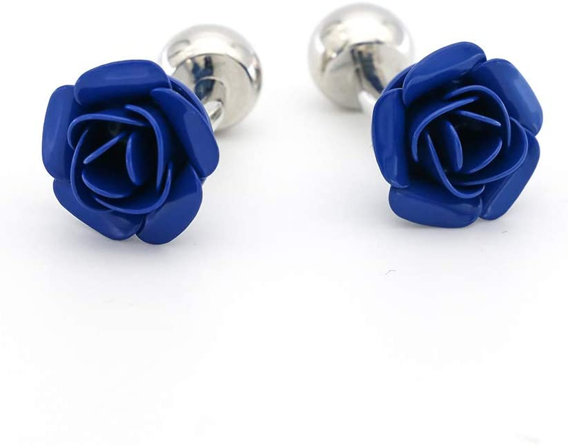 GZBSTDQ Blue Red Rose Flower Cufflinks, Shirt Buttons Men's and Women's Cufflinks Cufflinks (Color : Blue)