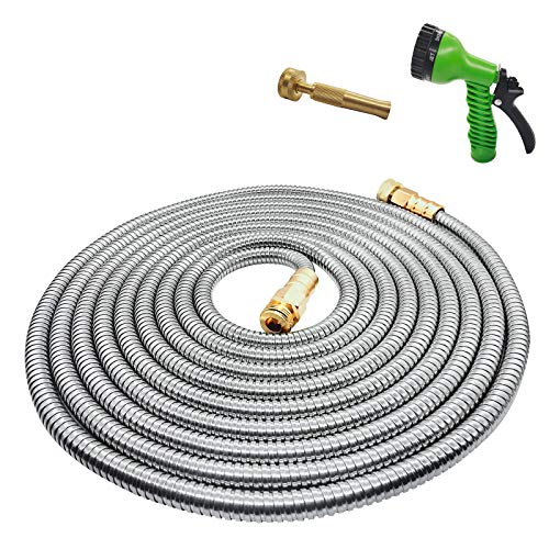 Yereen Stainless Steel Metal Garden Hose 75FT with Solid Brass Nozzle and 7 Function Spray Gun, Heavy Duty Outdoor Metal Water Hoses, Kink Free, Tangle Free, Flexible, Rust Proof