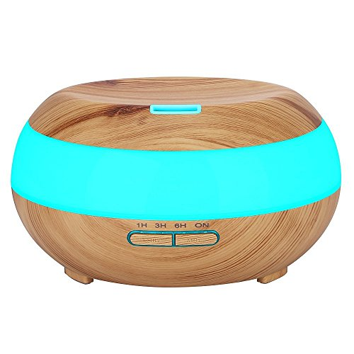 Komeito 300ml Aroma Essential Oil DiffuserWood Grain Aromatherapy Diffuser Ultrasonic Cool Mist Humidifier for Home Office Bedroom with 7 Color LED Light4 Timer SettingsWaterless Auto ShutOff
