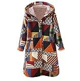 FNKDOR Manteau à Capuche Femmes Hiver Chaud Épais Parka Rétro Fleurs Impression Veste Blouson Pas Cher (B Orange,S=FR(38))