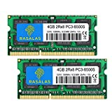 Rasalas 8GB Kit (2 x 4GB) PC3-8500S 1067MHz 1066MHz DDR3 8500 PC3-8500 SODIMM RAM Upgrade for Late 2008, Early/Mid/Late 2009, Mid 2010