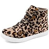 Adokoo Womens High Top Sneakers PU Leather Ankle Boots(Leopard,US8)