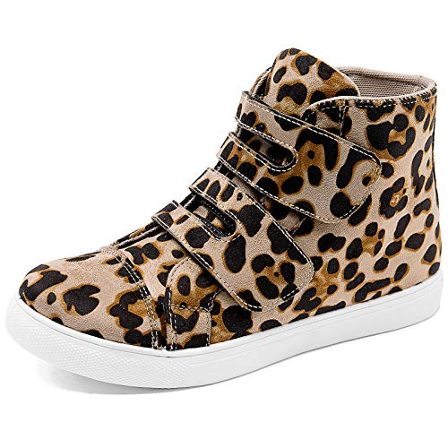 Adokoo Womens High Top Sneakers PU Leather Ankle Boots (Leopard,US6)