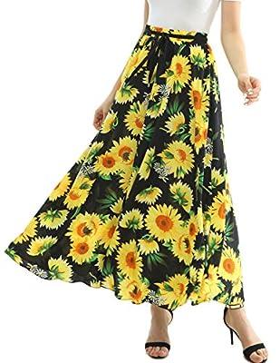 JOAUR Women Full/Ankle Length Floral Print Maxi Chiffon Long Skirt Beach Skirt