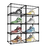 KOKOIN Magnetic Side Open Transparent Plastic Storage Shoe Box Storage Shoe Box Sneaker Storage Box Display Box Shoe Container Clear Closet Shelf Shoe Organizer (Black 8PC)