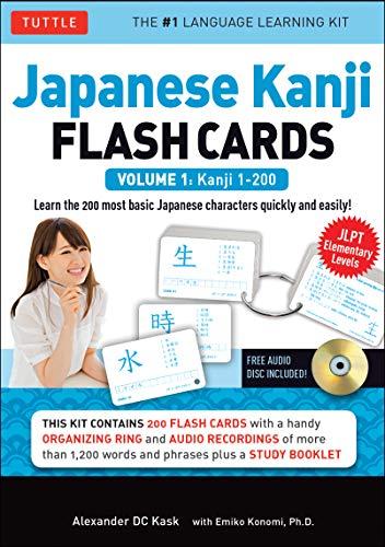 Japanese Kanji Flash Cards Kit Volume 1: Kanji 1-200: Jlpt Beginning Level: Learn 200 Japanese Characters Including Native Speaker Audio, Sample Sente