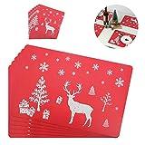 Kungfu Mall Manteles individuales de Navidad, cojines, posavasos de mesa, manteles individuales, perfectos para decoración de Navidad, 12 unidades, alce rojo