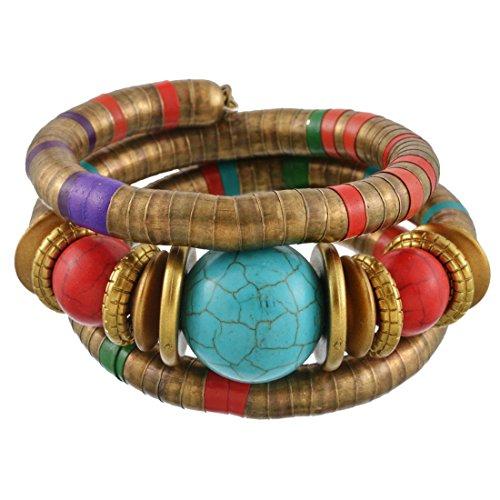 MJARTORIA Damen Armband Bunt Boho Armreif mit CZ Kristall Anhänger Armkette