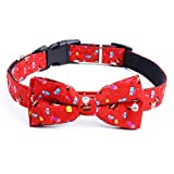 MoonyLI Collar de perro de Navidad y pajarita con hebilla de liberación de luz ajustable para mascotas, patrón de Navidad clásico accesorios de ropa de perro