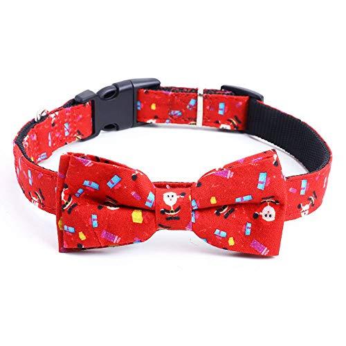 MoonyLI Collar de perro de Navidad y pajarita para el día de Navidad con hebilla de liberación de luz, collares ajustables para mascotas patrón clásico de Navidad accesorios de ropa para perro