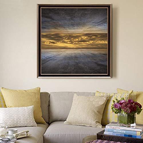 BUHUAZXM Print muurkunst canvas schilderij hemel buiten de hoge foto's voor de woonkamer decor poster 40x40cm Geen frame.
