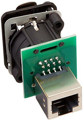 Neutrik NE8FDP-B - Conector empotrable para clavija RJ45 (carcasa formato D cromada), color negro
