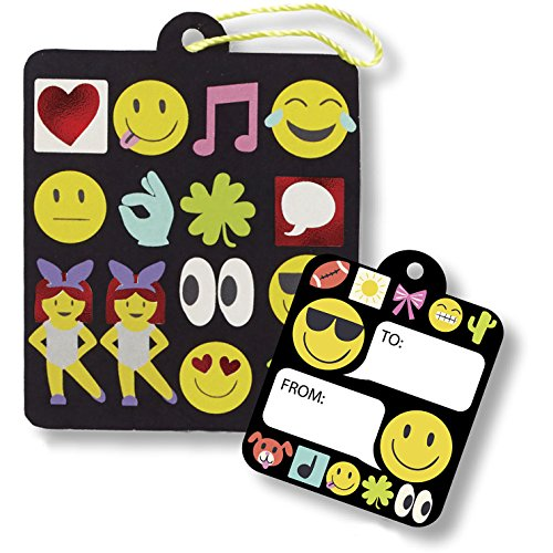 Jillson Roberts 3 Roll-Count Emoji All-Occasion Gift Wrap with 12 Gift Tags