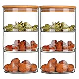 LTCTL Contenedores De Frascos De Almacenamiento De Alimentos De Vidrio con Tapa De Bambú Herméticos Conjunto De 3,3 Niveles/Niveles (Color : Container X2)