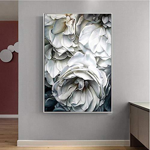 MNNPY Poster Schwarz-Weiß-Blumenbilder im europäischen Stil für Wohnzimmerkunst Rosen Abstrakte Leinwandbilder Posterdruck Ungerahmt 24X31Inch (60X80cm)