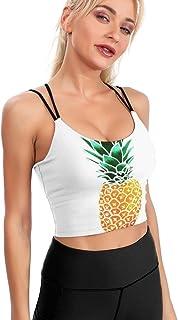 Cyloten Women's Sport Tank Top Pineapple Watercolor in White Workout Yoga Padded Sports Bra Removable -