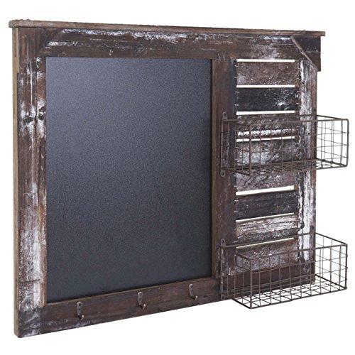 Mendler Wandgarderobe HWC-A94, Wandorganizer mit Tafel, Körbe Shabby-Look Vintage 56x68cm