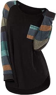 Plus Size Contrast Color Stripe Pocket T Shirt