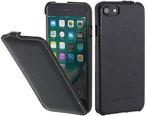 StilGut Leder-Hülle kompatibel mit iPhone SE 2020/iPhone 8/iPhone 7 vertikales Flip-Hülle, Schwarz