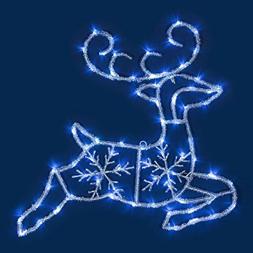 Reno efecto hielo 80 x h. 70 cm, 72 LED luz fría, objetos luminosos, figura de Navidad, decoraciones navideñas