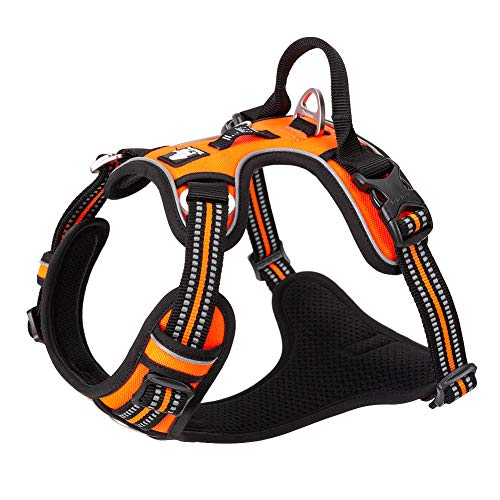 Chai's Choice Dog Harness - New Version with Quick Release Neck Buckle 3M Reflective for Large, Medium, Small Dogs (Medium, Orange)