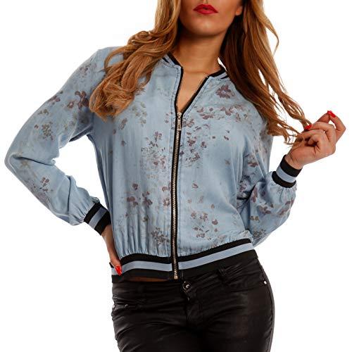 YC Fashion & Style Damen Jacke Blouson mit Blumen Druck im Bomberjacken-Stil Jacket Flieger Jacke One Size Jumper Sommerjacke (One Size, Hellblau)