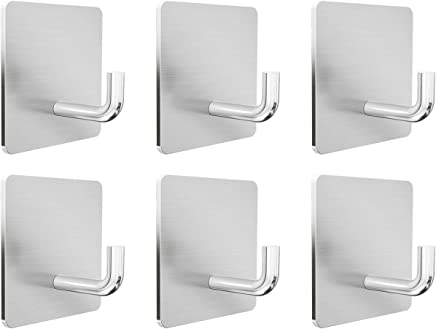 Ninonly 粘着フック 強力 6個入り 壁掛けフック 90度フック部設計 ステンレス製 高耐荷重 壁を傷つけない キッチン/玄関/洗面所/オフィス用 フック