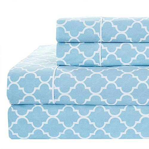 Royal Tradition Meridian 250-Thread-Count, 100-Percent Cotton Percale Twin Extra Long XL 3PC Bed Sheets Set, Blue/White