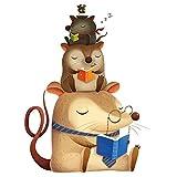 Pegatina animales lectores para paredes cristal ventanas. Habitaciones niños salas lectura cabecero librerias caravanas consultas infantiles de chipyhome