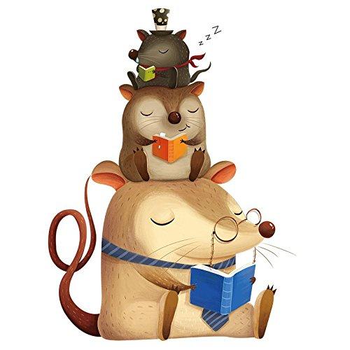 Pegatina animales lectores para paredes cristal ventanas .habitaciones niños salas lectura cabecero librerias caravanas consultas infantiles de CHIPYHOME