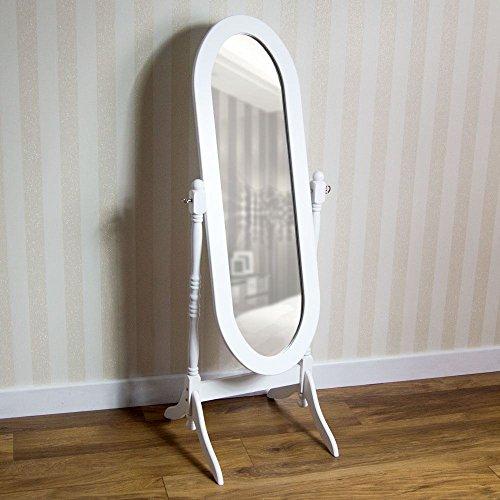 Vida Designs nishano Standspiegel freistehend Full Länge Frisiertisch Spiegel verstellbar Schlafzimmer Möbel Holz, weiß