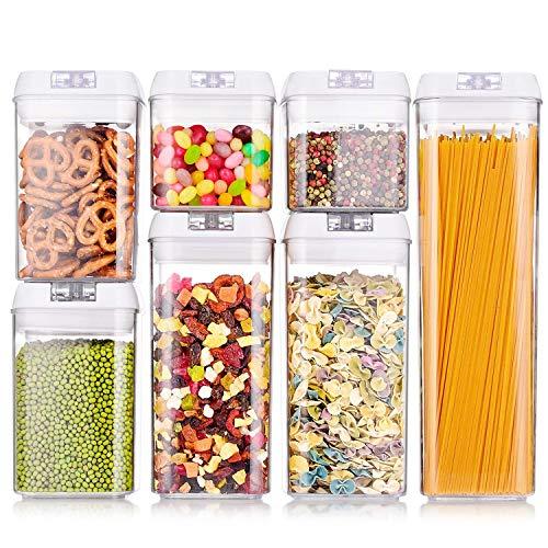 Food Storage Container Set van 7 stuks met 4 verschillende vierkante maten stapelbaar en veelzijdig vierkant goede kwaliteit kunststof beste voor het opslaan van droge en verse verscheidenheid van voedsel en vloeistoffen.