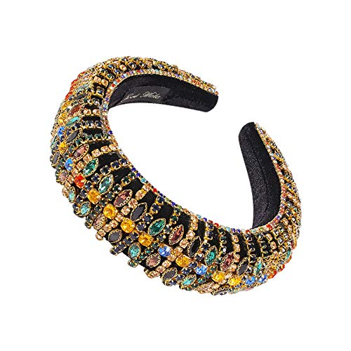EHDFS Lady Elegant Filled Crystal Headband Rhine Stone Band Shine Hand Barroco Filled Headband Girl Hair Ornamento Golden