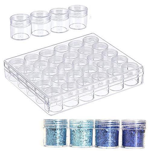 Outgeek Cajas de Diamantes, 30PCS Frascos de Almacenamiento de Plástico Portátil Claro Brillo latas de uñas Sombra de Ojos Bolsa de Polvo Metic Loción Bálsamo Crema Facial Sub Embotellado Viaj