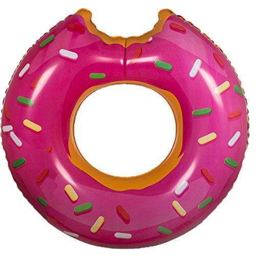 Bada Bing Aufblasbarer Schwimmring Luftmatratze XXL Donut Pink ca. 119 cm Krapfen Garten Pool Deko 76