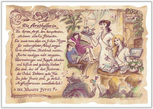 Die Staffelei Geschenk Arzthelferin Krankenschwester Zeichnung Color 20 x 15 cm