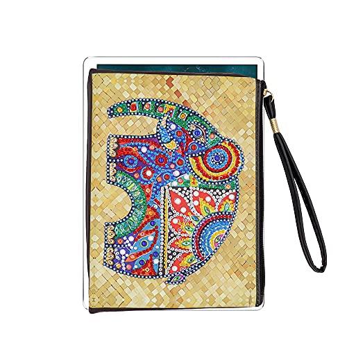 5D Handmade Diamond Painting Geldbörse Elephant Coin Reißverschluss Lange Geldbörse für Frauen Leder Clutch Speziell Geformte Make-up Umhängetasche Telefon Brieftasche Bag für Partyabend 20x15cm
