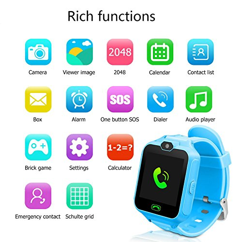 hangang Smart Watch For Kids with digital camera Games Touch Screen, Telephone SOS, Pedometer (Blue), cool Toys, Learning Toys Watch Gifts For Girls Boys Children 'Brithday, blu