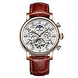 JTTM Reloj Mecánico Automático Relojes Esqueleto Reloj Hombre Mujer Piel De Vaca Marrón Analógicos Unisex Impermeable,White Brown