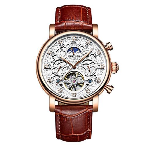 JTTM Lujo para Hombre Tourbillon Fase De La Luna Automático Mecánico Banda De Cuero Reloj De Pulsera Reloj De Negocios para Hombres,White Rose